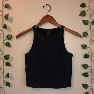 Forever 21 purple and black lace crop top